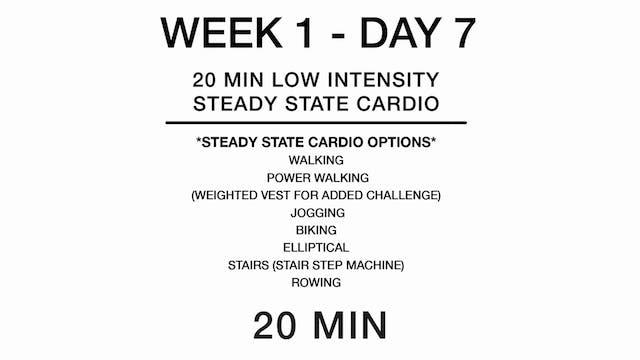 Week 1 - Day 7 (cardio)