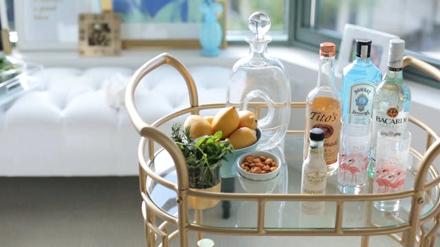 How to Style a Vintage Bar Cart