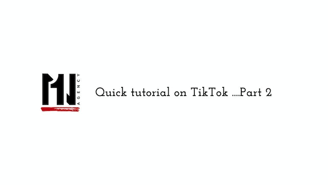 Quick tutorial on Tiktok ...Part 2