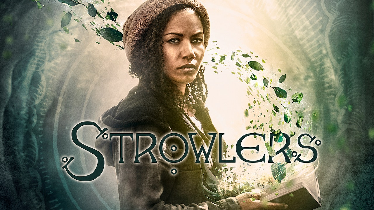 "Strowlers Cover showing main character Whit with an open book in her hand from which pages a storm of leaves arise. In front the title ""Strowlers""."