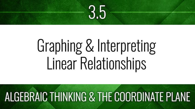 Competency 3.5 – Graph and Interpret Linear Equations