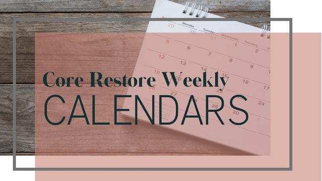 Core Restore Week 1 Calendar