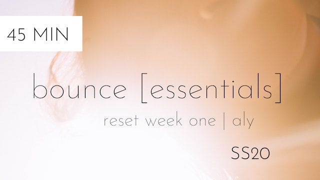 ss20 reset week one | bounce [essentials] #2 | aly