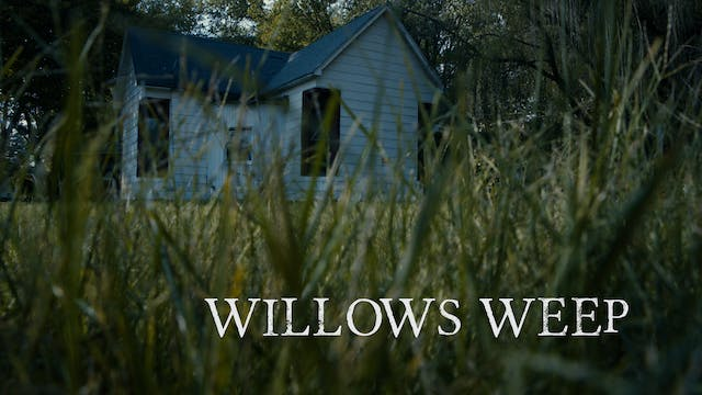 Man Mowing Grass at WillowsWeep House...
