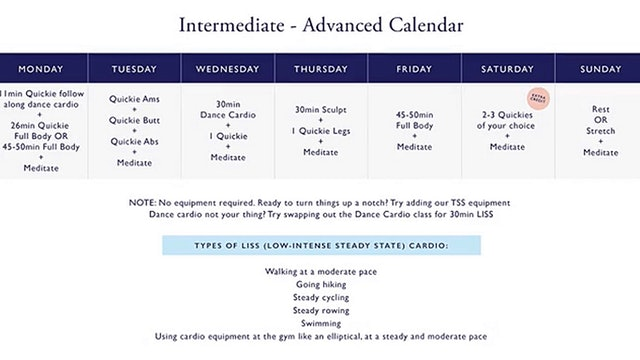 INTERMEDIATE/ADV SCULPT + SHIFT 5 week calendar
