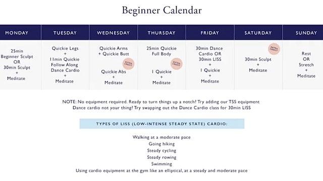 BEGINNER SCULPT + SHIFT 5 week calendar