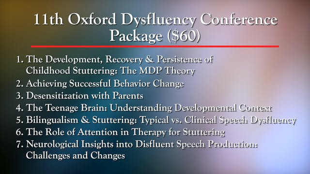 11th Oxford Dysfluency Conference Package ($60)