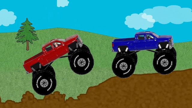 Red and Blue Monster Truck Race