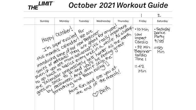 October 2021 Workout Guide