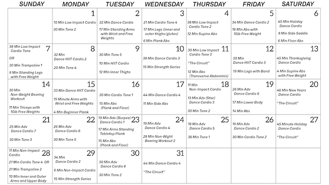 March 2021 Workout Guide