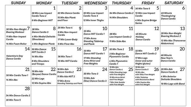 February 2021 Workout Guide