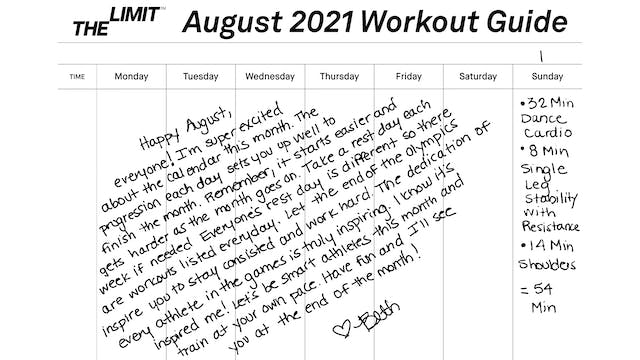 August 2021 Workout Guide