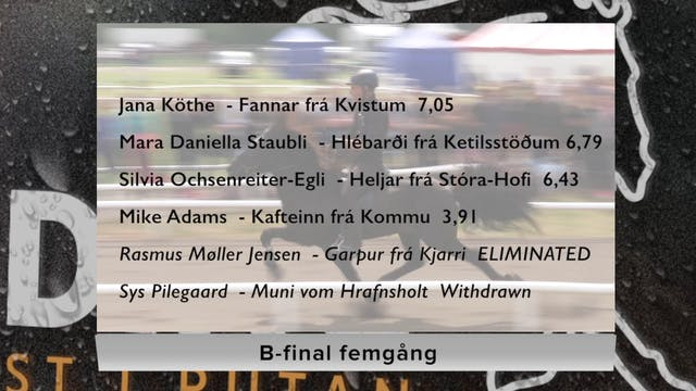B-final femgång lördag 12-8