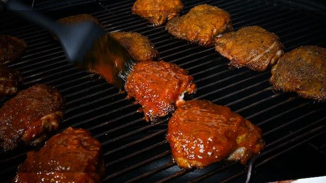 Muslos de pollo chipotle BBQ