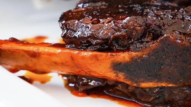 Costilla braseada en BBQ