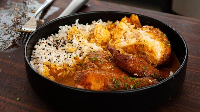 Pollo ahumado al curry