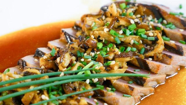 Atún con hongos shiitake