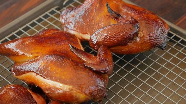 Pollo ahumado con salvia y miel