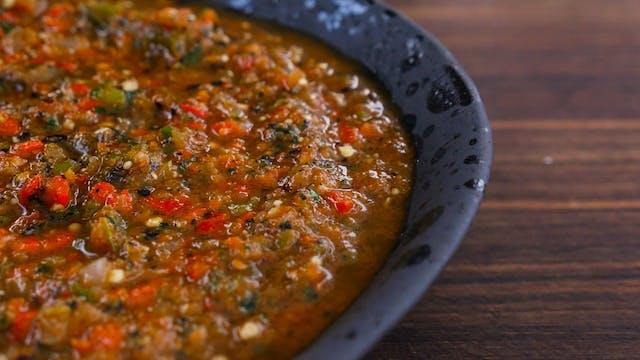 Salsa tatemada de jalapeño