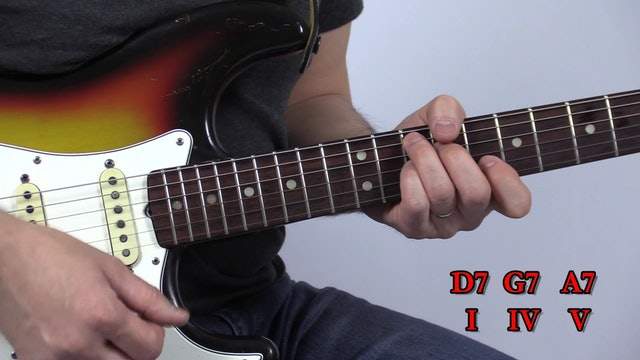TF Lesson 013 Slow Blues in D + 4-Note Chords Strings 5 4 3 2