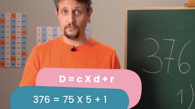 4ºPrim. Mates. Relación y prueba de elementos que forman una división. Vídeo