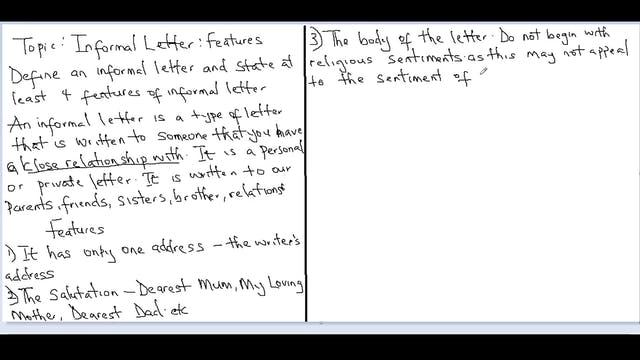 Letter Writing Language Of Informal Letters First Term