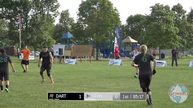 2017 D-I College Championships 2017: Dartmouth v. Stanford (W Quarterfinal), Pittsburgh v Massachusetts (M Quarterfinal, 2nd Half), North Carolina v. Wisconsin (M Quarterfinal, Last Point)