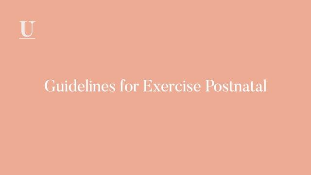 Guidelines for Exercise Postnatal