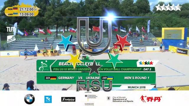 Beach Volleyball - Round 1 - Day 2 - Afternoon Session - 2018 FISU World University Championship - Munich