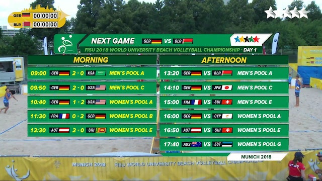 Beach Volleyball - Pool Phase - 2018 FISU World University Championship - Day 1 - Afternoon Session