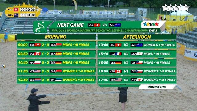 Beach Volleyball - 1/8 Finals - Day 3 - Afternoon Session - 2018 FISU World University Championship - Munich