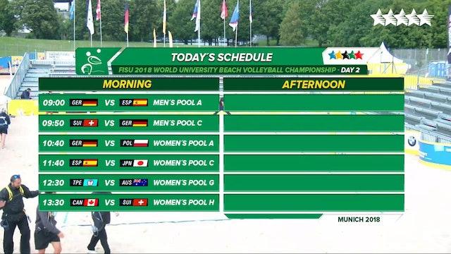 Beach Volleyball - Pool Phase - Day 2 - Morning Session - 2018 FISU World University Championship - Munich