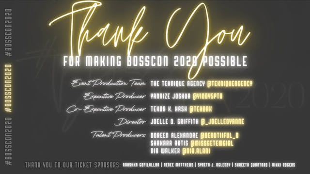 #BossCon2020 Team Credits