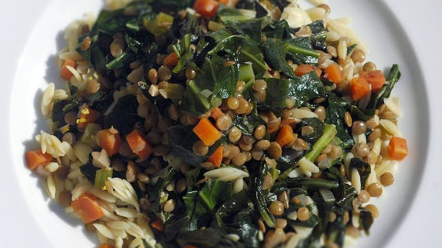 Lentil Orzo and Collard Green Stew