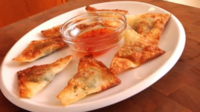 Cheesy Swiss Chard Wontons
