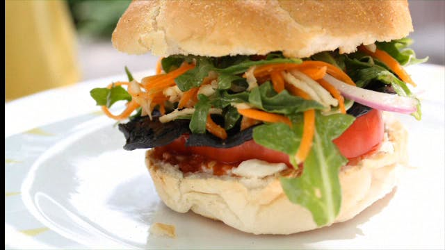 Grilled Portobello Arugula Salad Burger