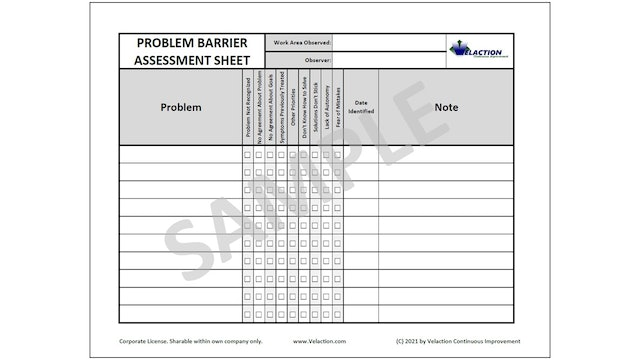 Problem Barrier Assessment Sheet