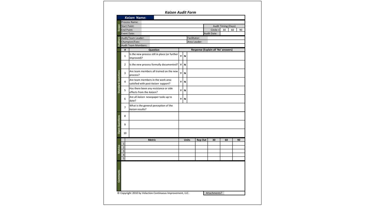 Kaizen Audit Form (Forms & Tools)