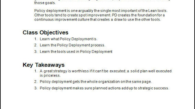 Policy Deployment Student Guide