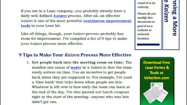 9 Tips to Running a More Effective Kaizen (PDF Article)