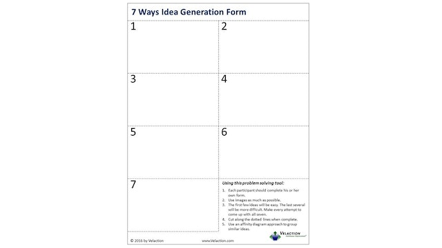 7 Ways Idea Generation Form