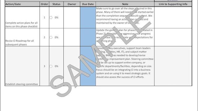 CI Development System Phase 3 Checklist (Starting the Journey)