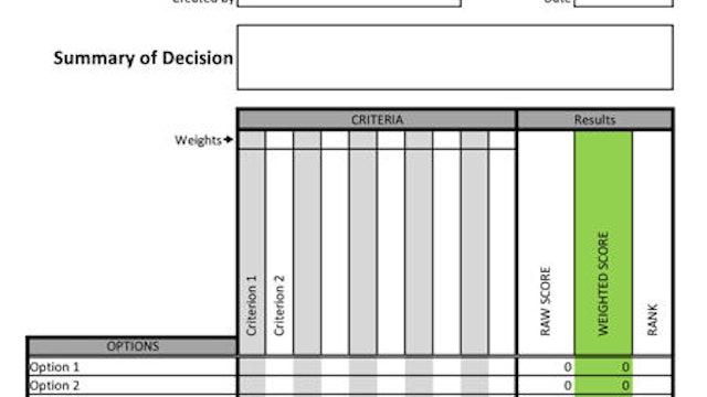 Decision Matrix Template (Forms & Tools)