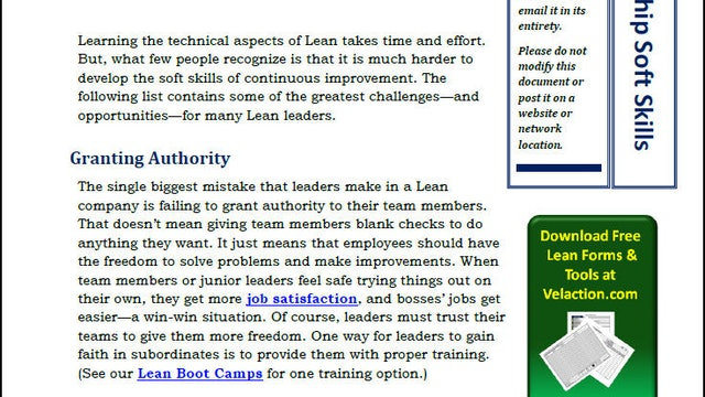 Lean Leadership Soft Skills (PDF Article)