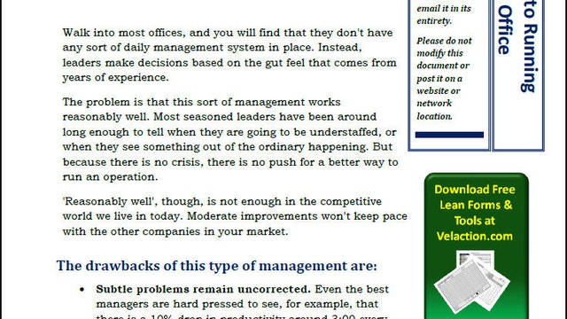 Secret to Successfully Running a Lean Office: Daily Management (PDF Article)