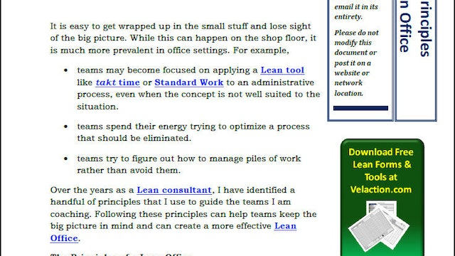 11 Principles of a Lean Office (PDF Article)