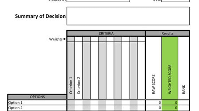 Decision Matrix Template