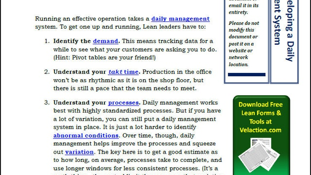 9 Steps to Developing a Daily Management System (PDF Article)