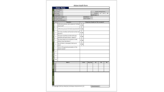 Kaizen Audit Form