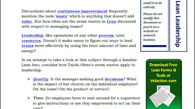 7 Wastes of Lean Leadership (PDF Article)